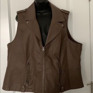 Baccini PULeather zip front vest sz 3X